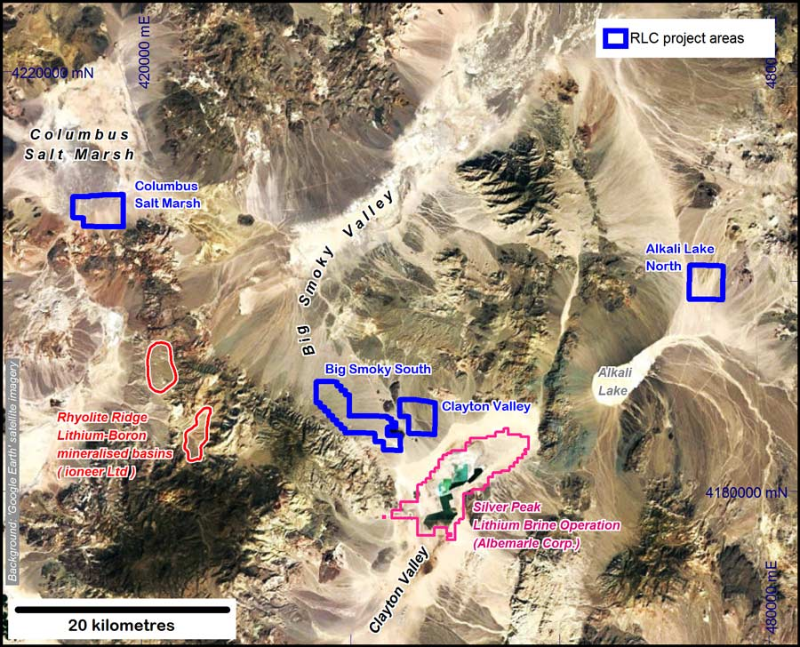 RLC Lithium Projects, Nevada (Google Earth image).